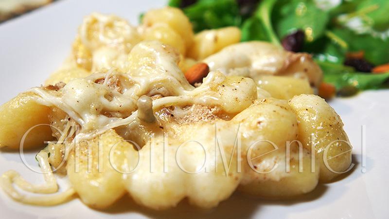 gnocchi in bianco ai 4 formaggi gratinati al forno con